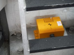 This yellow box is the IMU.  It's internal gyros capture information about the boat's pitch, roll, and heave.