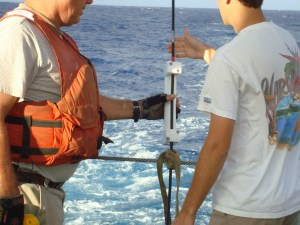 Sensors monitor the ocean conditions