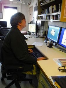Chief Surveyor Jim Jacobsen at work in the computer lab