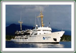 NOAA ship Rainier, named for Mt. Rainier - a volcanic cone in Washington state that rises 14,410 feet above sea level.  Photo courtesy of NOAA.