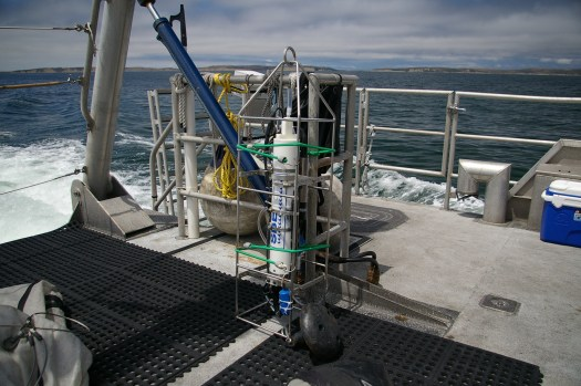 The CTD is deployed down to a depth that is 5 meters above the surface and collects conductivity, temperature, and depth data.