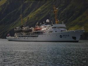 NOAA ship Rainier anchored in Japanese Bay.