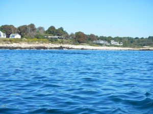 See the dark patch close to the shore? There is a rock hiding right under the water's surface!