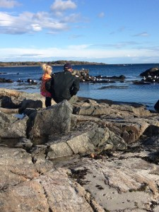 My daughter Harper and my husband Jared looking out at Bigelow Bight from Portsmouth, NH