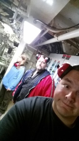 Nikki, Alan, and I in the engine room