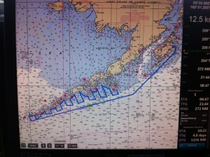 Transects we fish are the lines somewhat perpendicular to the islands.