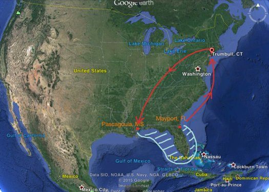 Trumbull to Pascagoula.  Longline survey area is marked in blue.