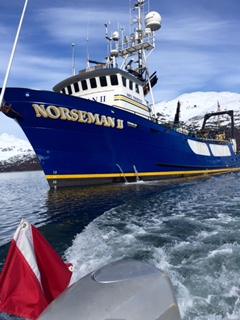 The Norseman ll as seen from the RHIB leaving for a dive outing