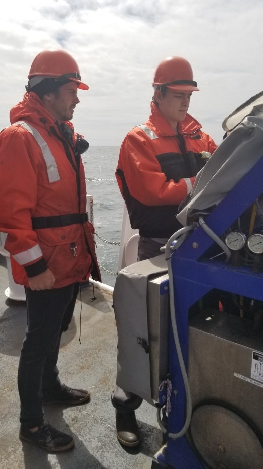 Survey technicians Sam Candio and Simon Swart view the MVP controls