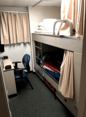 Photo of my stateroom and bathroom on NOAA Ship Oscar Dyson.