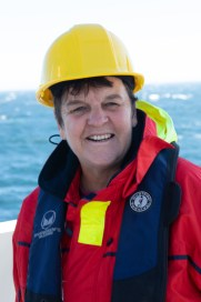 Photo of Pam Schaffer wearing hard hat