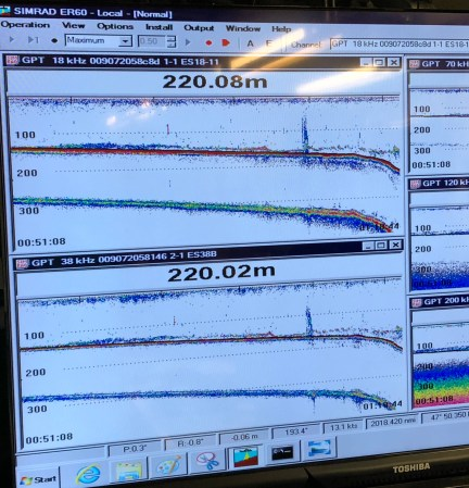 sonar from the acoustic transducer