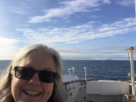 Meg on flying bridge