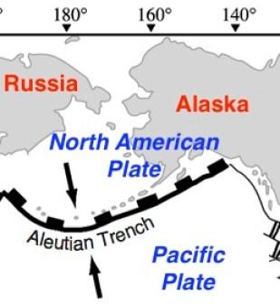 Aleutian Trench tectonic map