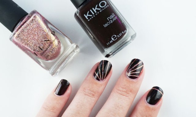 Nails with simple nail art design, showing the polishes that are used, ILNP that other girl and Kiko 227