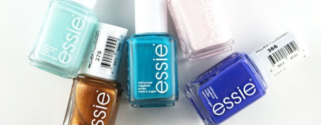 showing 5 Essie nail polish bottles