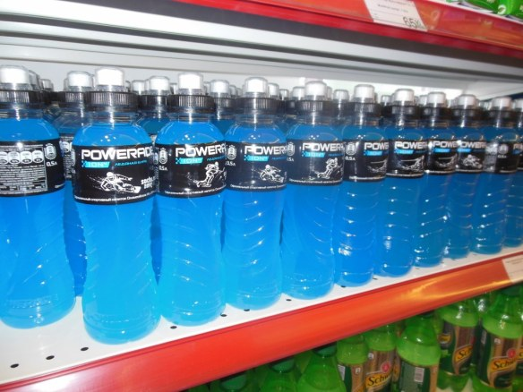 Blue Powerade in Olympic Village Store
