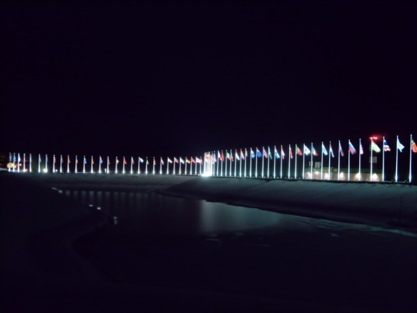 Olympic Flags at Night in Sochi Endurance Village