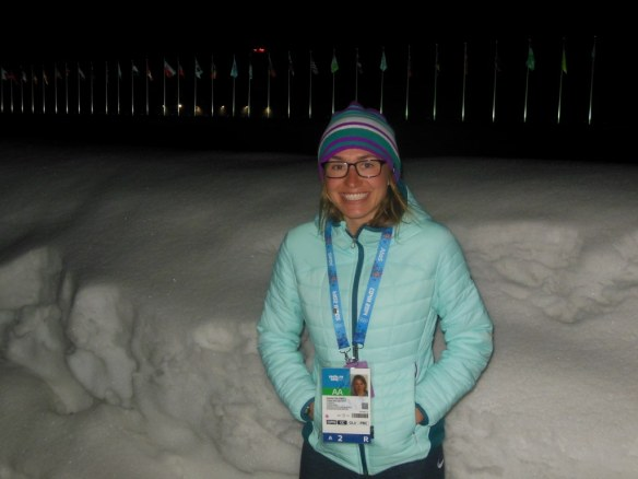 Sophie Caldwell Walking to Dinner in sochi 2014 Olympic Village