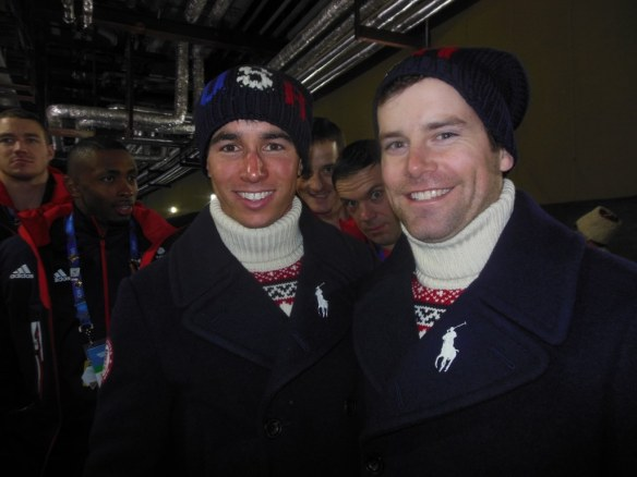Noah Hoffman and Nolan Kasper at Olympic Closing Ceremonies