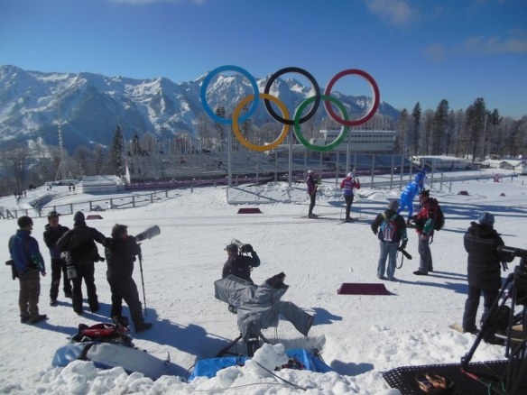 Picture Taking of Olympic Rings in Sochi, Russia