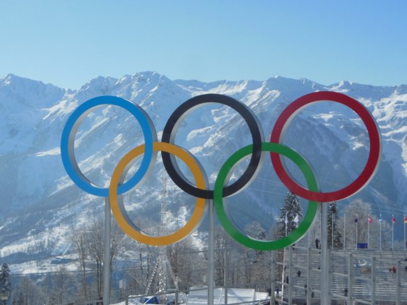 Olympic Rings in Front of Mountains in Sochi, Russia