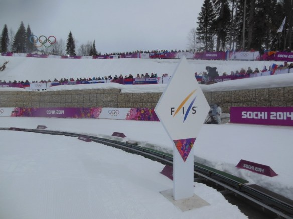 FIS Sign on Olympic Skiathlon Course