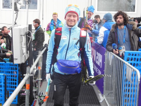Sjur Røthe in Olympic Skiathlon Mix Zone