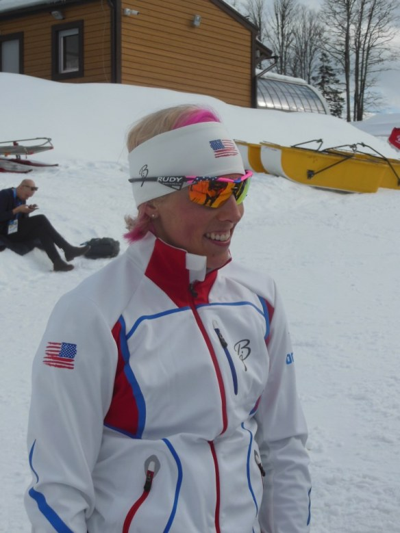 Kikkan Randall Giving Pre-Olympic Sprint Interview