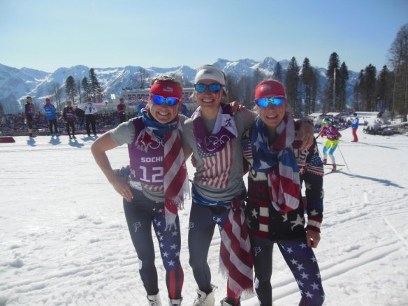 Holly Brooks, Sophie Caldwell and Ida Sargent Cheering for women's Olympic Relay