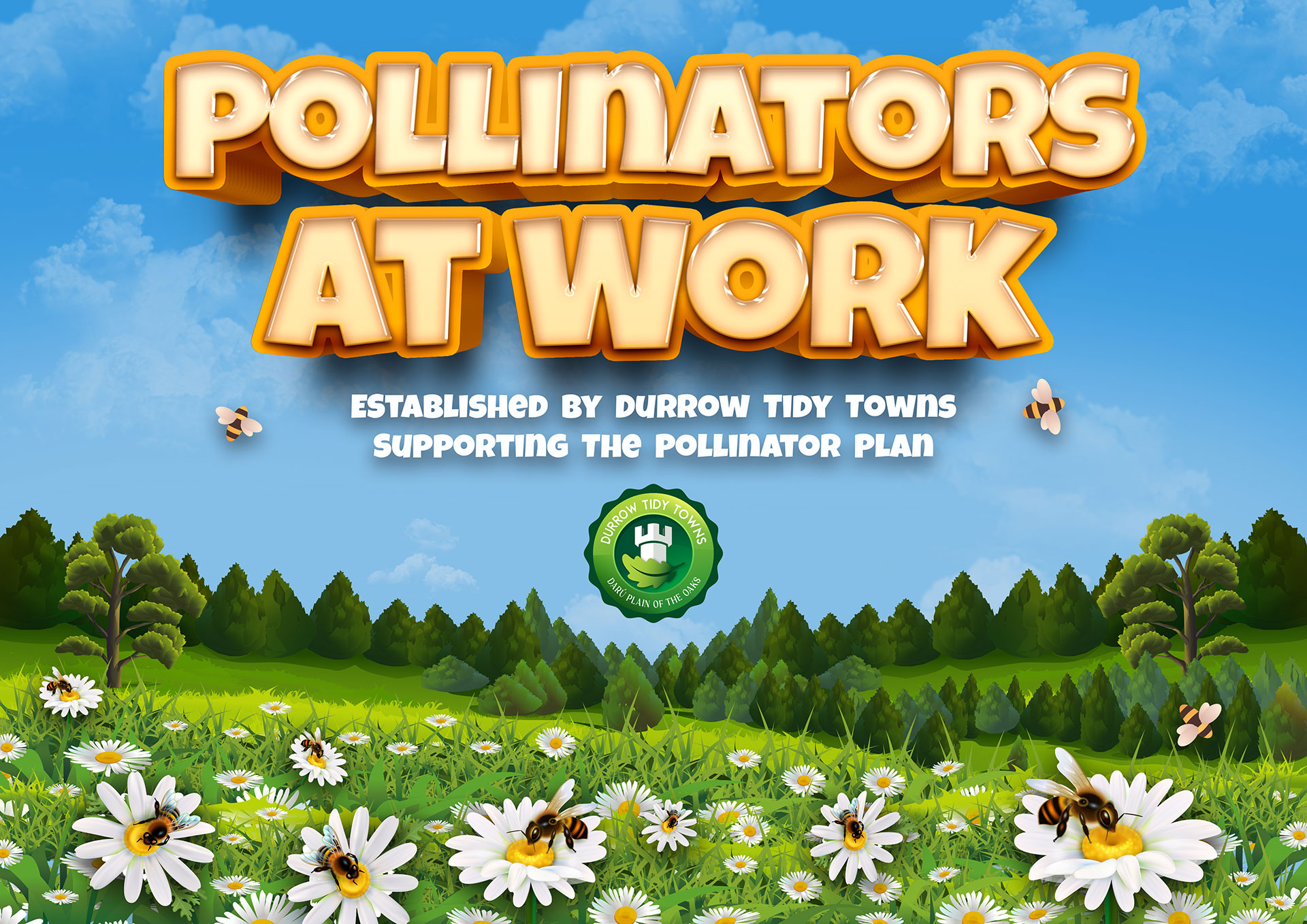 Bio diversity poster showing bees on flowers in a meadow, Pollinators at work.