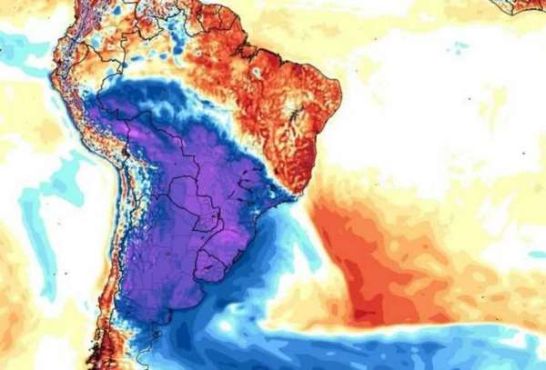 A parte azul e roxa no mapa significa a massa de ar polar que chegou no Sul do Brasil e deve atingir o Amazonas (Foto: MetSul Meteorologia/Divulgação)