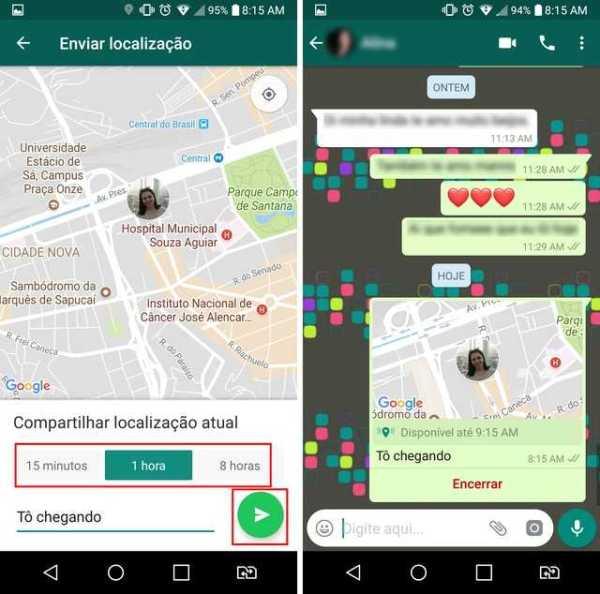 Compartilhando a localização no WhatsApp - Imagem:Reprodução