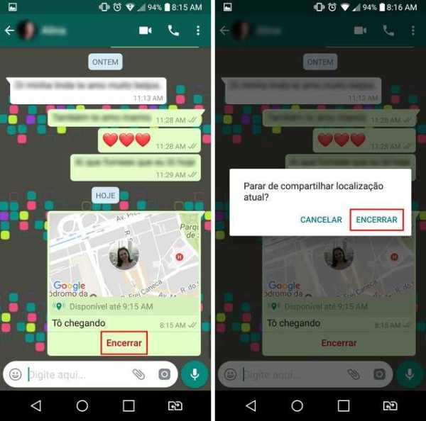 Opção para interromper o compartilhamento de localização no WhatsApp - Imagem: Reprodução