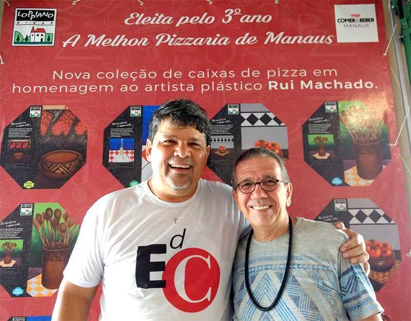 Proprietário da Loppiano, Rogério Cunha e o artista Rui Machado / Foto : Marcus Pessoa - No Amazonas é Assim