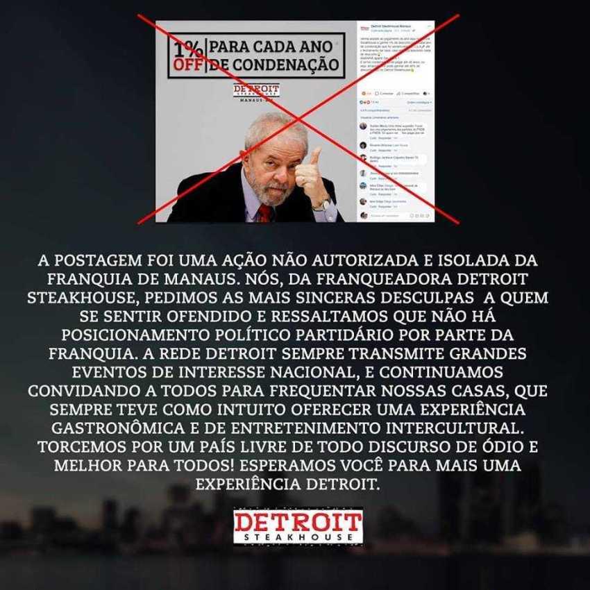 Errata: promoção local foi realizada em Manaus sem autorização da Franquia Detroit Steakhouse / Reprodução Detroit Steakhouse Brasil