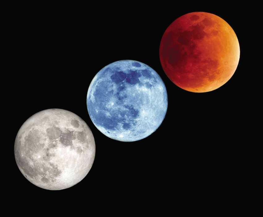 Uma rara coincidência de fenômenos celestes ficará visível no céu de algumas partes do mundo nesta quarta-feira (31): um eclipse total lunar, uma superlua, lua azul e a chamada lua de sangue.