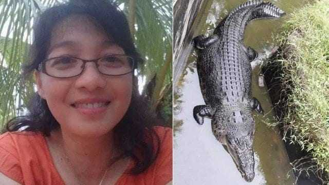 A cientista Deasy Tuwo, de 44 anos, junto com o crocodilo Marry. / Foto: Reprodução