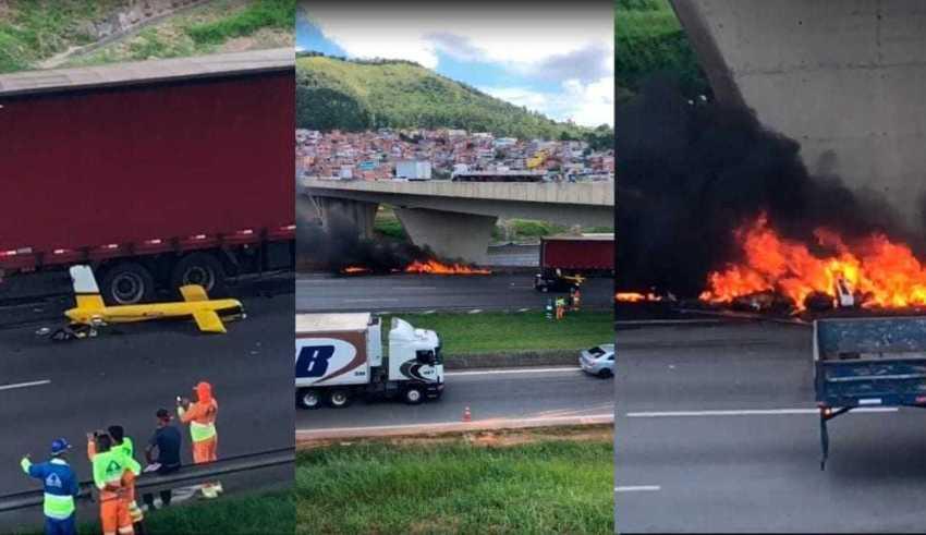 O helicóptero caiu e atingiu um caminhão no Rodoanel, em São Paulo. / Foto: Reprodução
