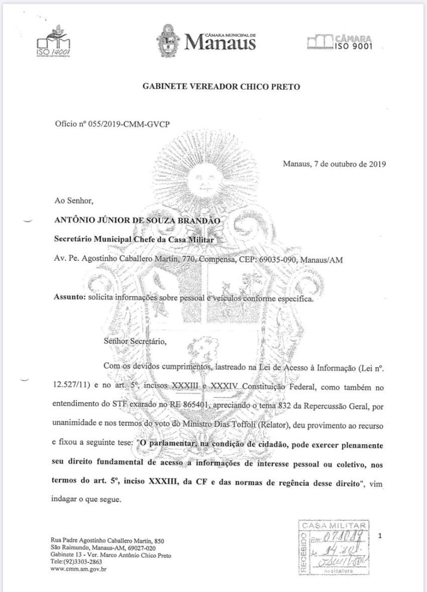 Proibido de falar durante a sessão de ontem, Chico posta seus 15 questionamentos ao prefeito sobre o caso Flávio