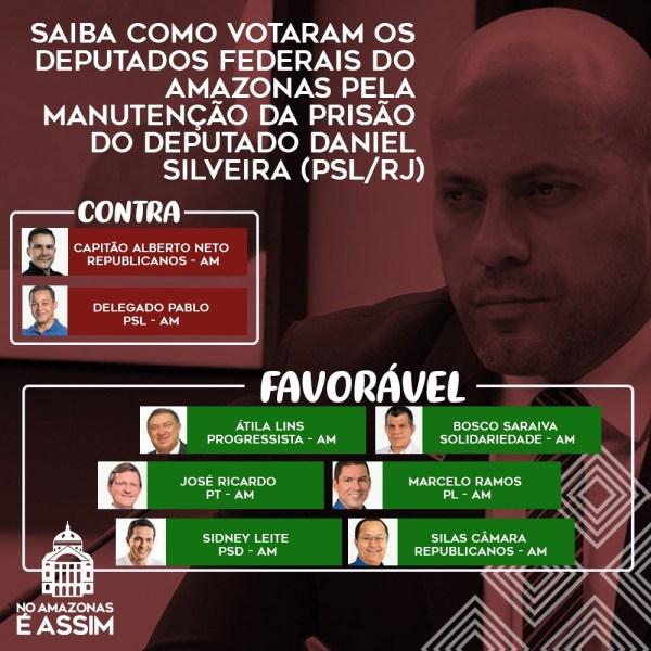 Saiba como votaram os deputados do Amazonas sobre a prisão de Daniel Silveira / Arte - Portal No Amazonas é Assim