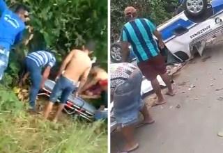 Vídeo : Acidente ainda a pouco em Itapiranga : Ambulância capota com pacientes dentro!