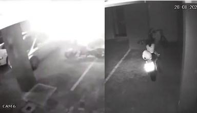 Vídeo : Moto sai andando sozinha, faz giro e ainda liga a luz do estacionamento!