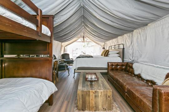 Flying flags in Buellton is one of the best spots for glamping in Southern California