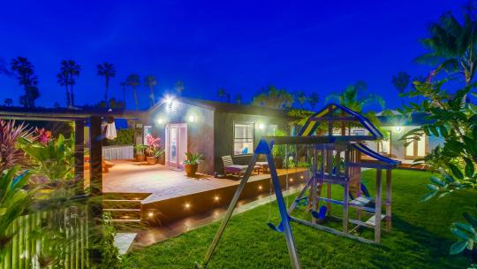 A night view of our San Diego vacation rentals through Wanderlust