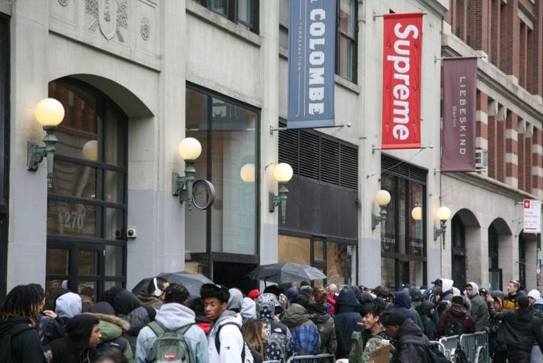 Line outside the Supreme store in New York City