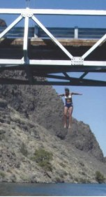 Jumping from a bridge at Lake Billy Chinook at age 44