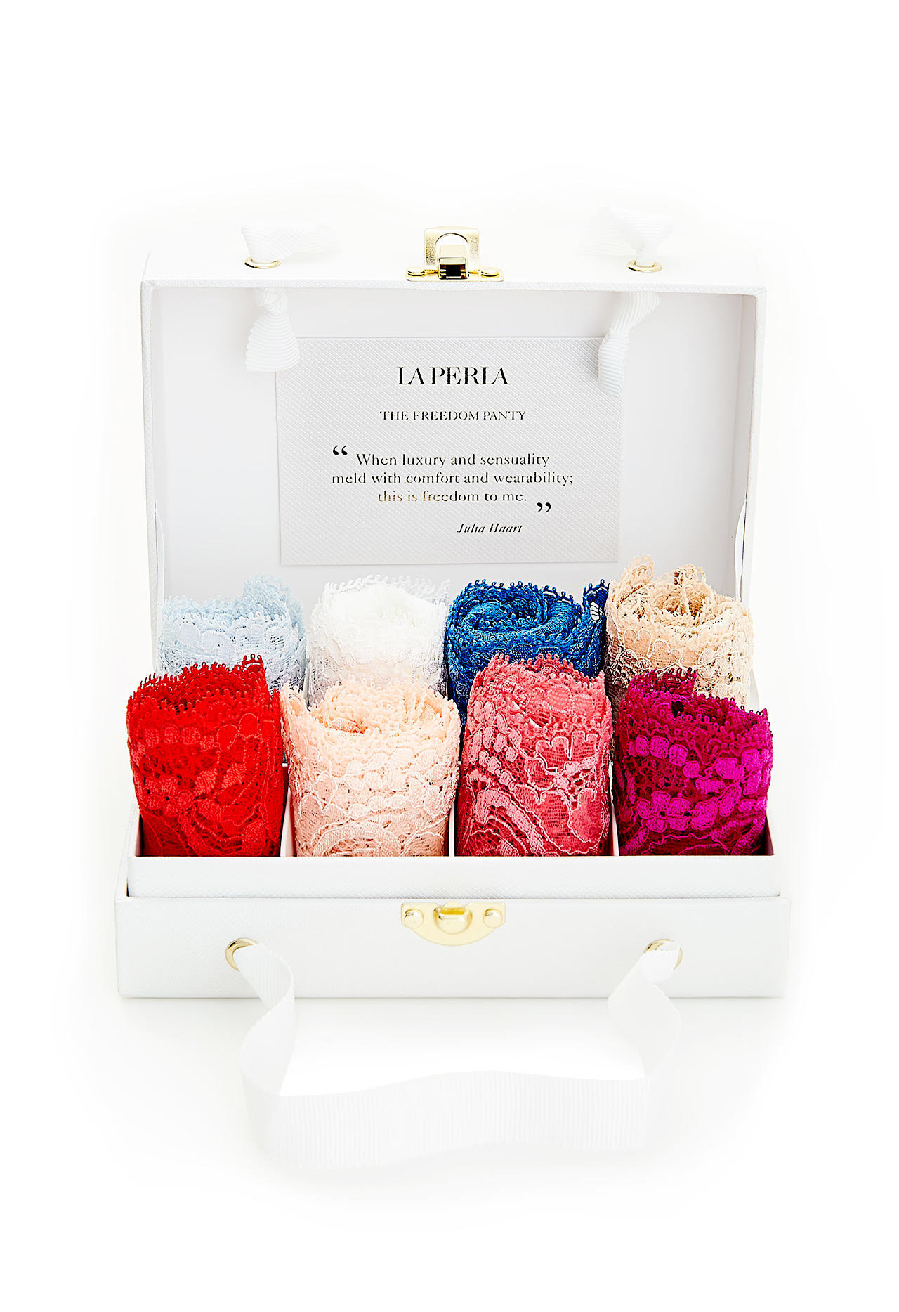 A little something-something. La Perla's Freedom gift box is very, very fancy, not to mention sexy AF; $640, laperla.com.