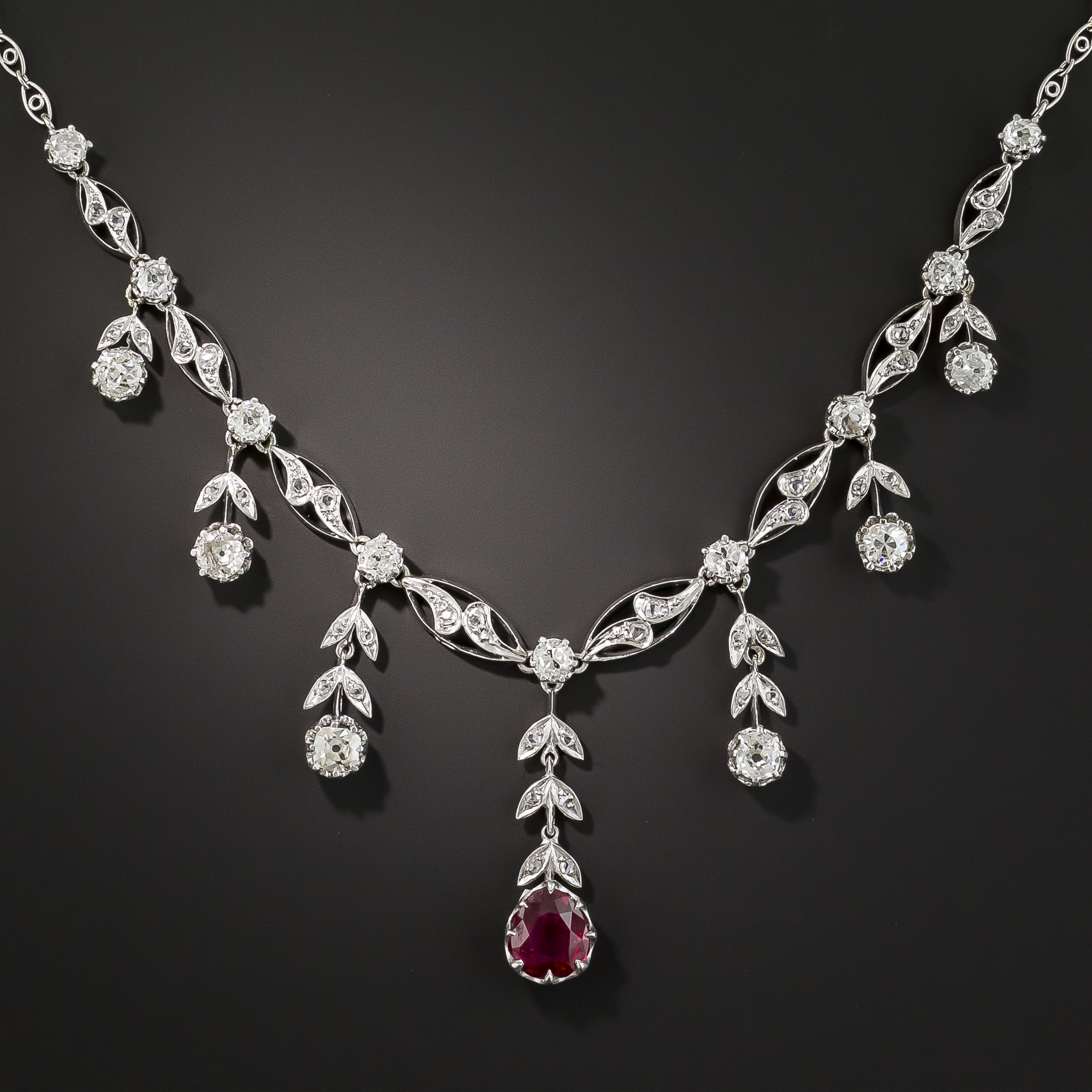 Girl's best friend. The French belle epoque ruby and diamond platinum fringe necklace is a showstopper; $22,750; langantiques.com.