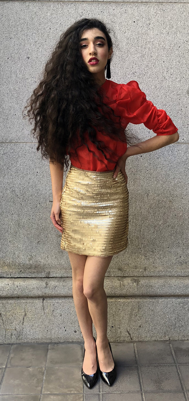 Carla, San Jose, Likes puffy shoulders. She poses for our Gazette Street Style
